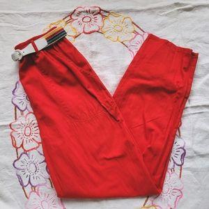 Vtg Koret 1980s red cotton trousers w rainbow belt